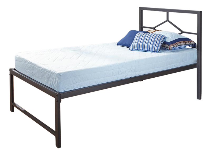 Black Metal Twin Size Day Bed Frame With Headboard