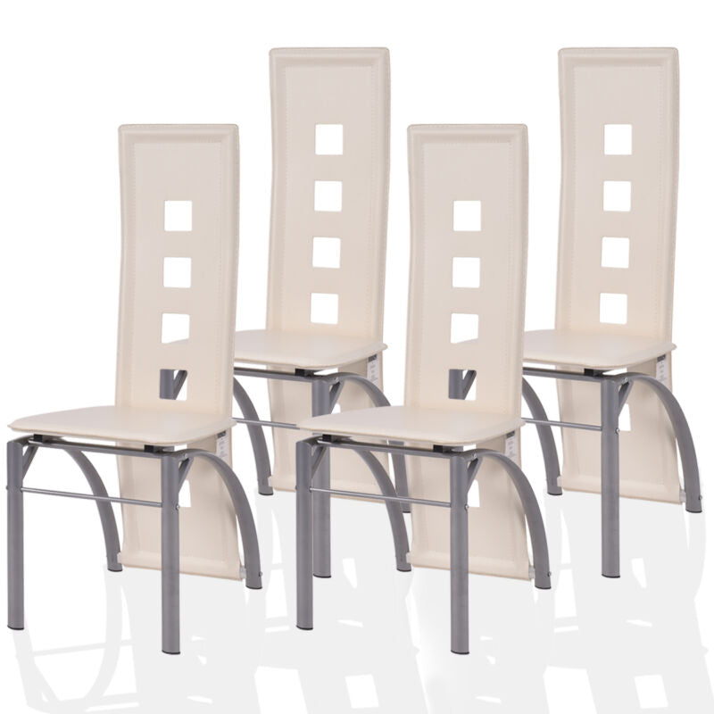 Set of 4 Dining Chairs PU Leather  High Back Steel Frame