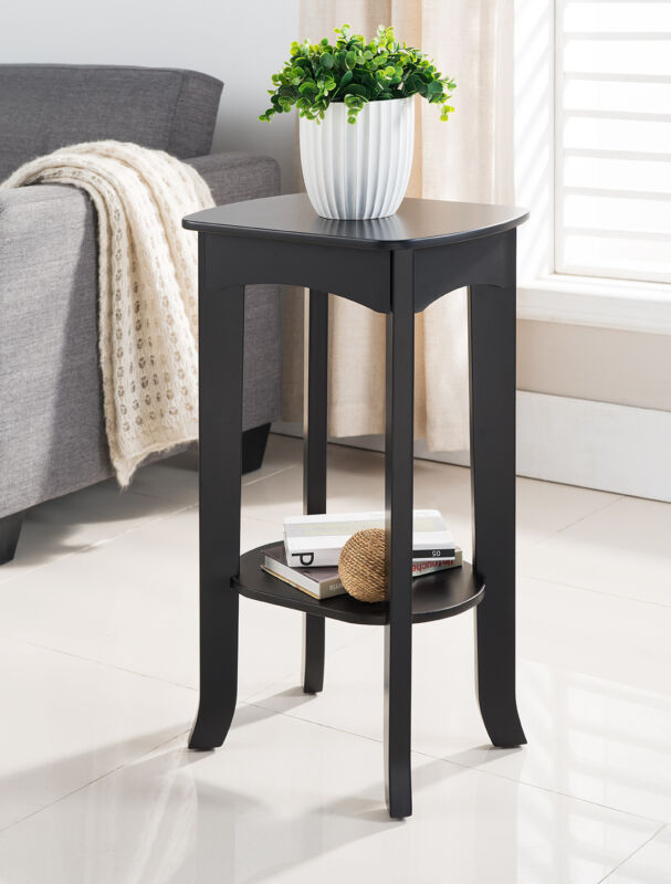 Espresso Finish Wood Plant Stand Accent Side End Table