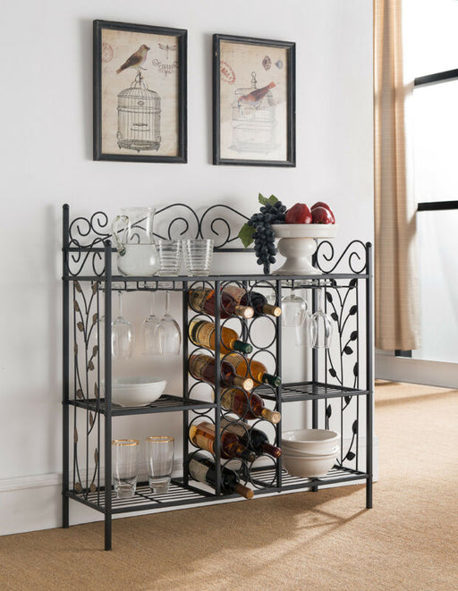 Metal Console Table Baker's Rack with Wine Storage