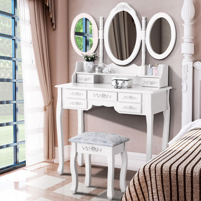 Vanity Makeup Dressing Table Set with Stool - Toyzor.com