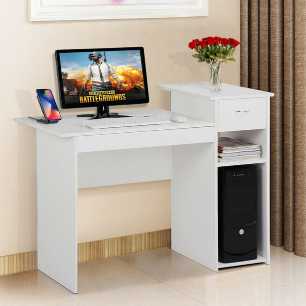Wood Computer Study Writing Desk Table Small Spaces Drawer