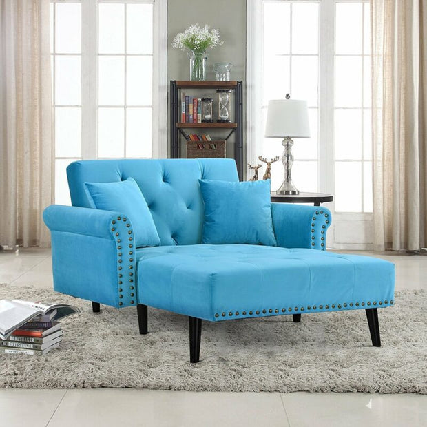Velvet Recliner Sleeper Chaise Lounge Chair, Blue