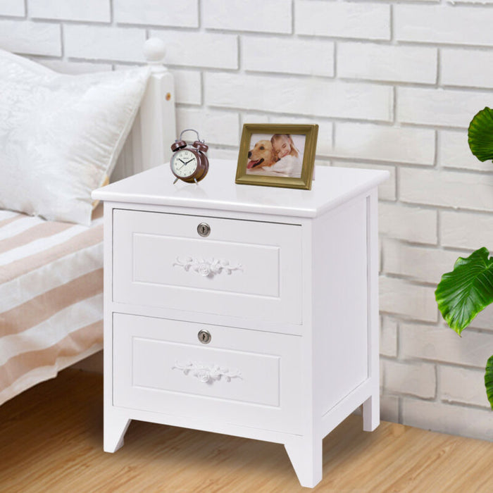 Solid Wood Elegant Stand W/ 2 Locking Drawer Storage Shelf