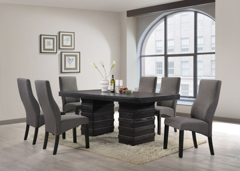 Cappuccino Wave Design Dining Room Kitchen Table & 6 Chairs