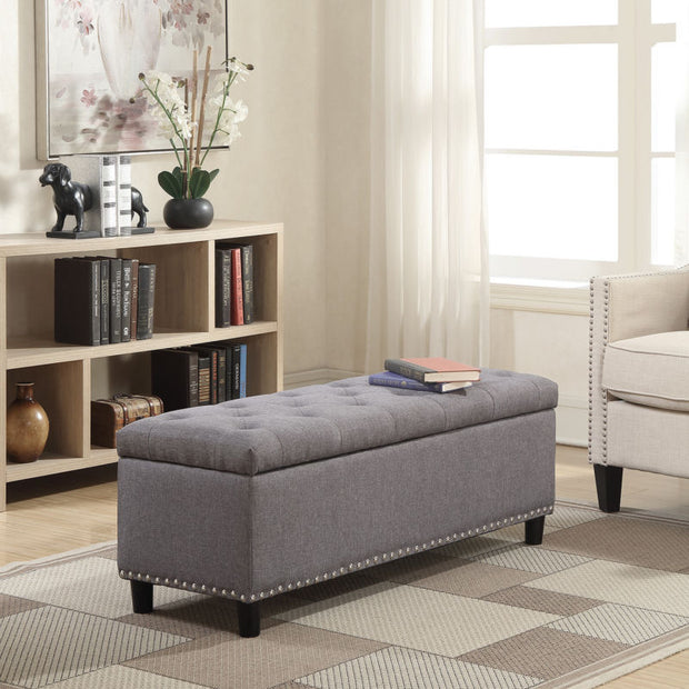 Rectangular Storage Linen Ottoman Bench Tufted Footrest Lift Top
