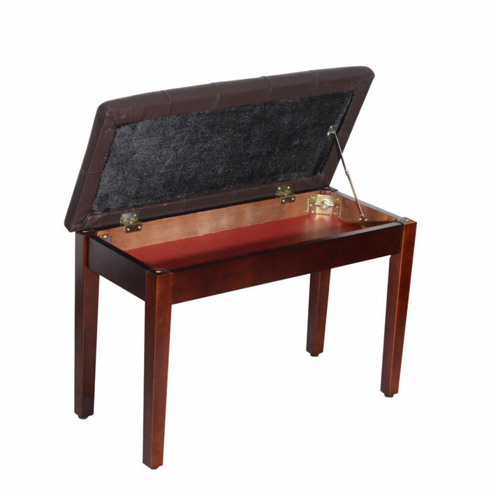 PU Leather Piano Bench Padded Double Duet Storage Upholstered Seat
