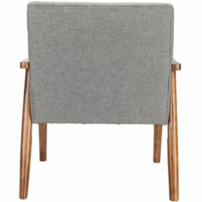 Grey Retro Modern Arm accent Chair Fabric Upholstered Wooden Lounge Chair