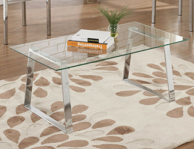 Chrome Finish With Glass Top Cocktail Coffee Table