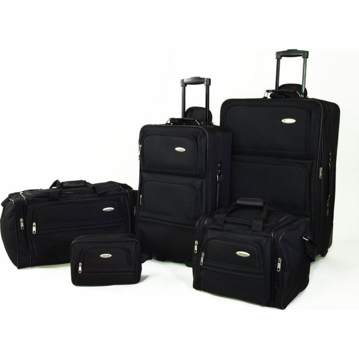 Samsonite 5 Piece Nested Luggage Suitcase Set - Red, Navy, Black - Toyzor.com