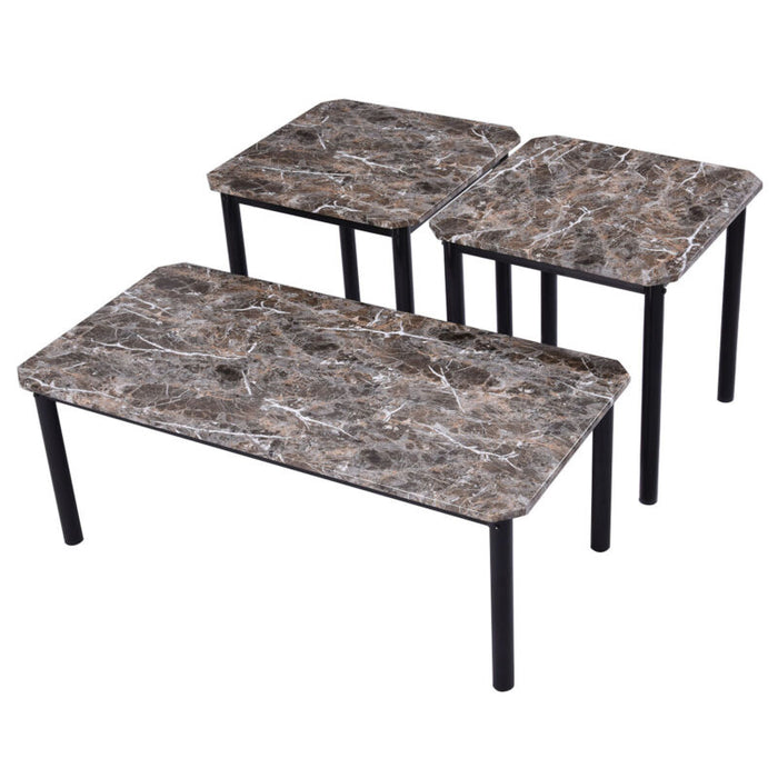 3 Piece Modern Faux Marble Coffee and End Table Set