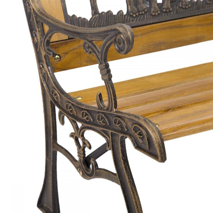 Cast Iron Hardwood Bench Park Porch Chair