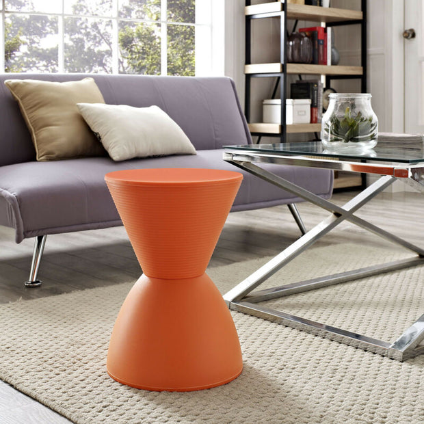 Orange Accent Side Table Storage Stool