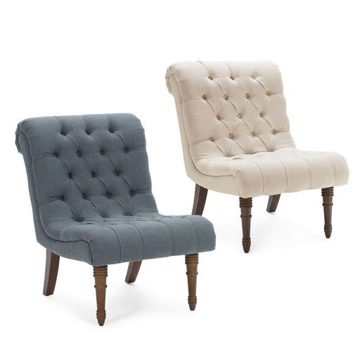 (Beige/Gray) Upholstered Accent Button Tufted Wood Legs