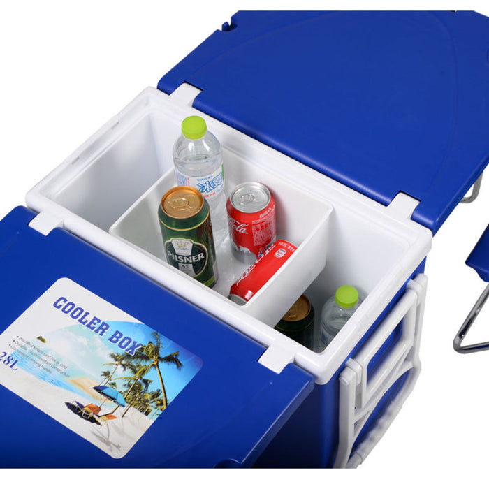 Blue Multi Function Rolling Cooler Picnic Camping Outdoor w/ Table & 2 Chairs