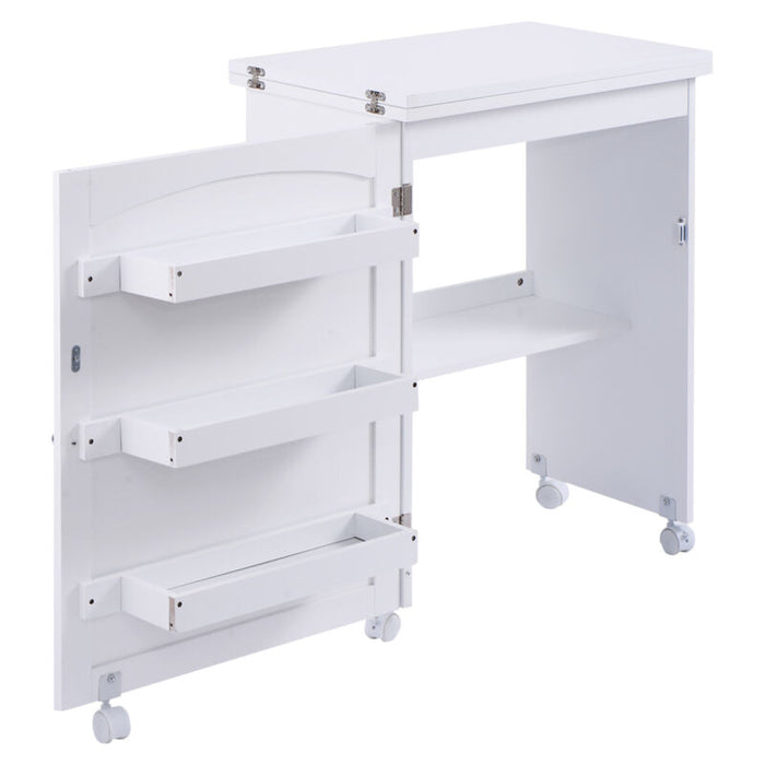 White Folding Swing Craft Table Shelves w/ Wheels