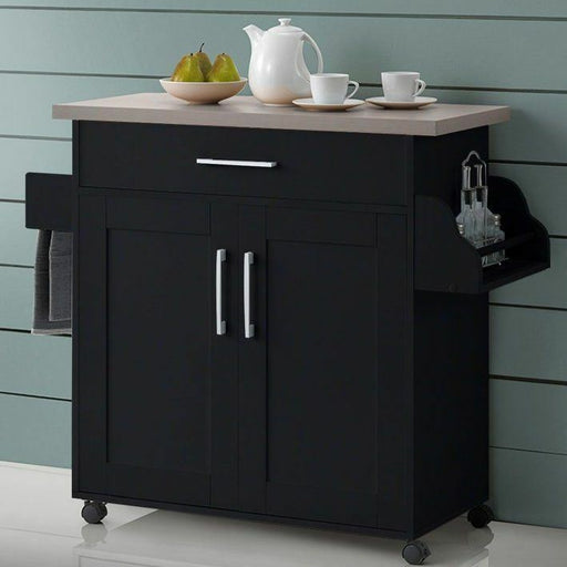Espresso Kitchen Trolley Cart Island Rolling Storage Prep Table Utility Cabinet