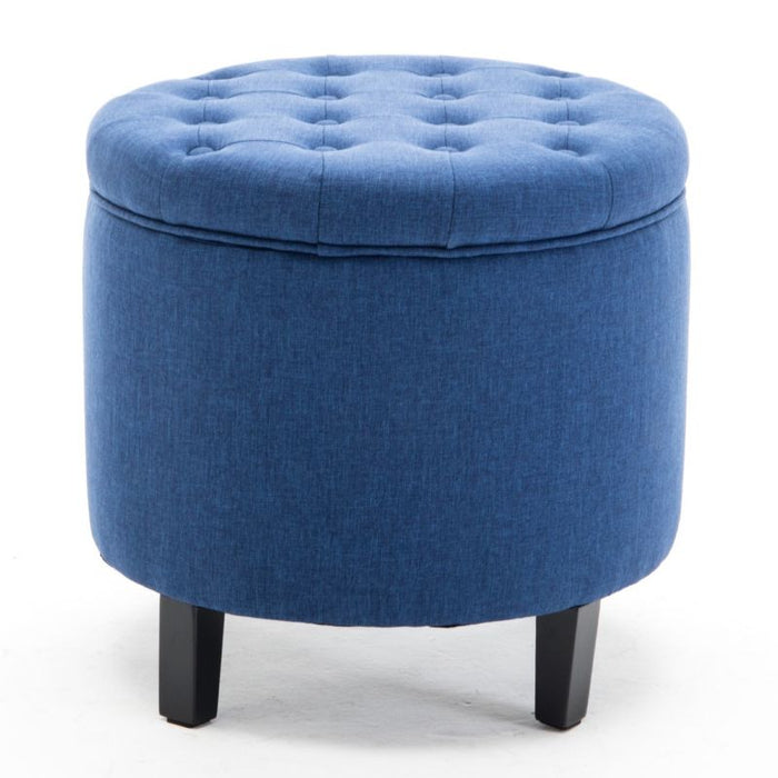 Elegant Fabric Tufted Button Ottoman Round Footstool Coffee Table
