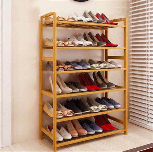 6 Tier Natural Wood Bamboo Shelf and Shoe Rack