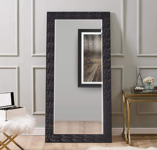 Large Full Length Black Ornate Frame Floor Mirror Leaning Wall Lounge