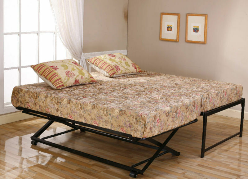 Black Metal Twin Size HiRise Day Bed Frame & Pop Up Trundle