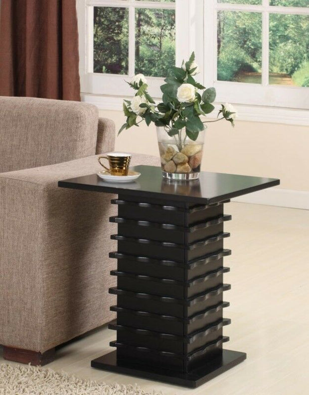 Black Finish Wood Wave Design End Table