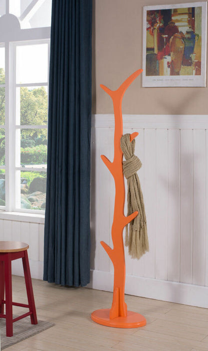 Orange Finish Contemporary Tree Style Wood Coat & Hat Rack Stand