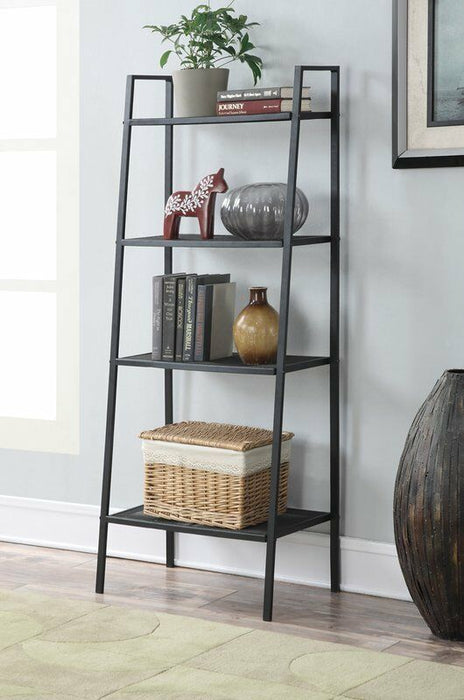 4 Tier Heavy Duty Metal Leaning Ladder Shelf Bookcase