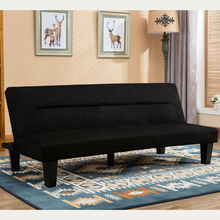 Modern Style Convertible Sofa Bed Futon Couch Sleeper in Black Microfiber w/ Leg