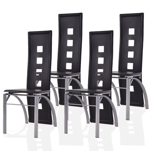 Set of 4 Dining Chairs PU Leather Steel Frame High Back Home Furniture
