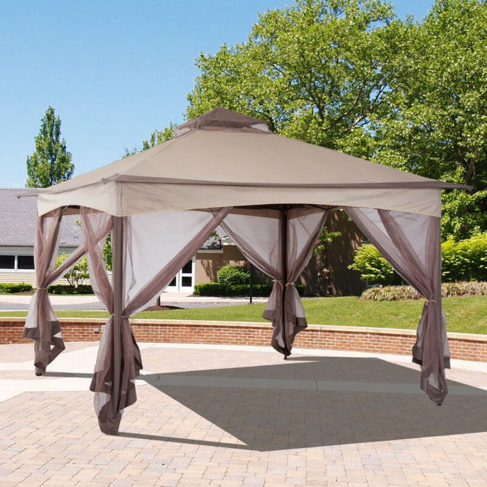 best sneakers f8228 e80be 2-Tier Pop Up Folding Gazebo Portable Party Tent With Netting