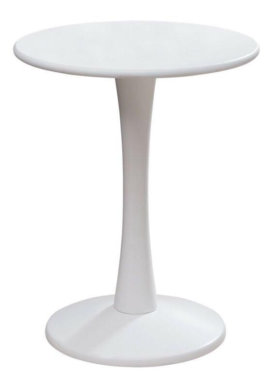 White Finish Wood Round Plant Side Accent End Table