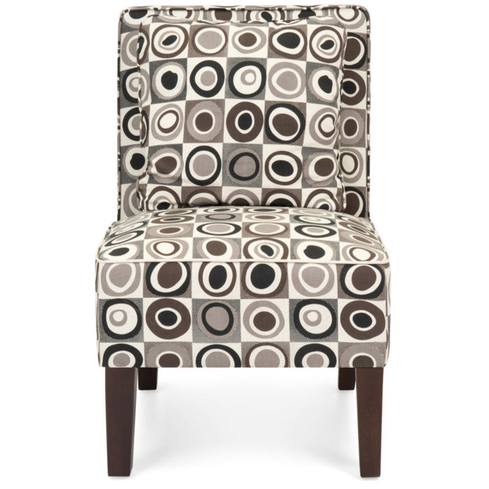 Set of 2 Geometric Circle Design Armless Accent Chairs w/ Pillows