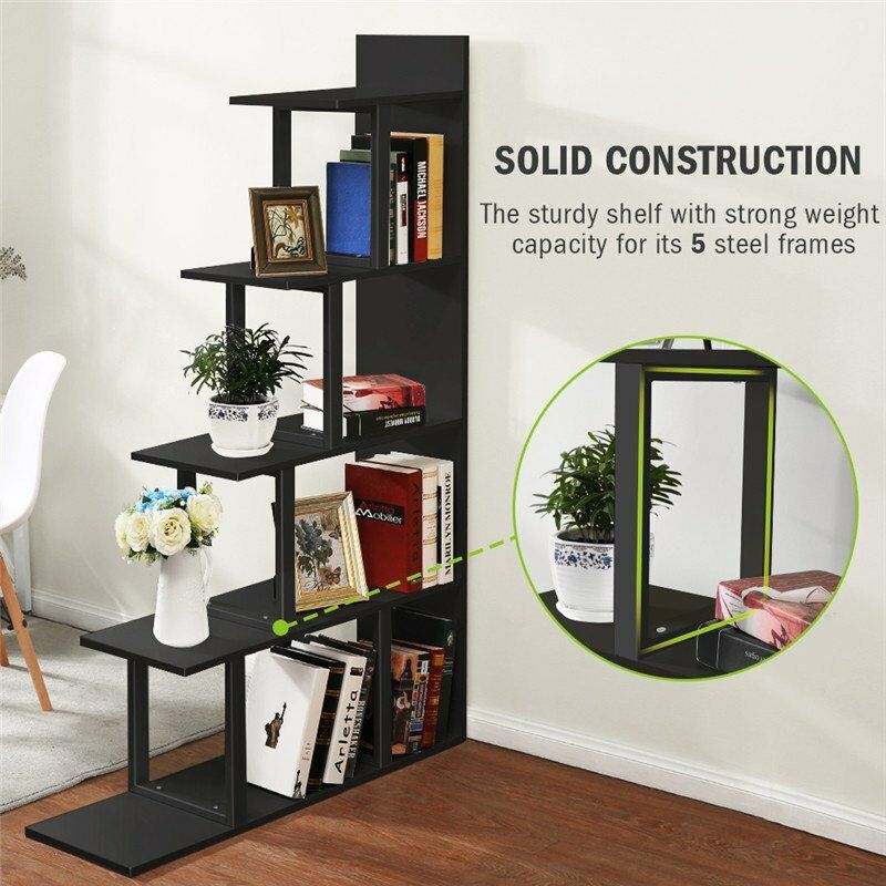5-Shelf Ladder Corner Bookshelf
