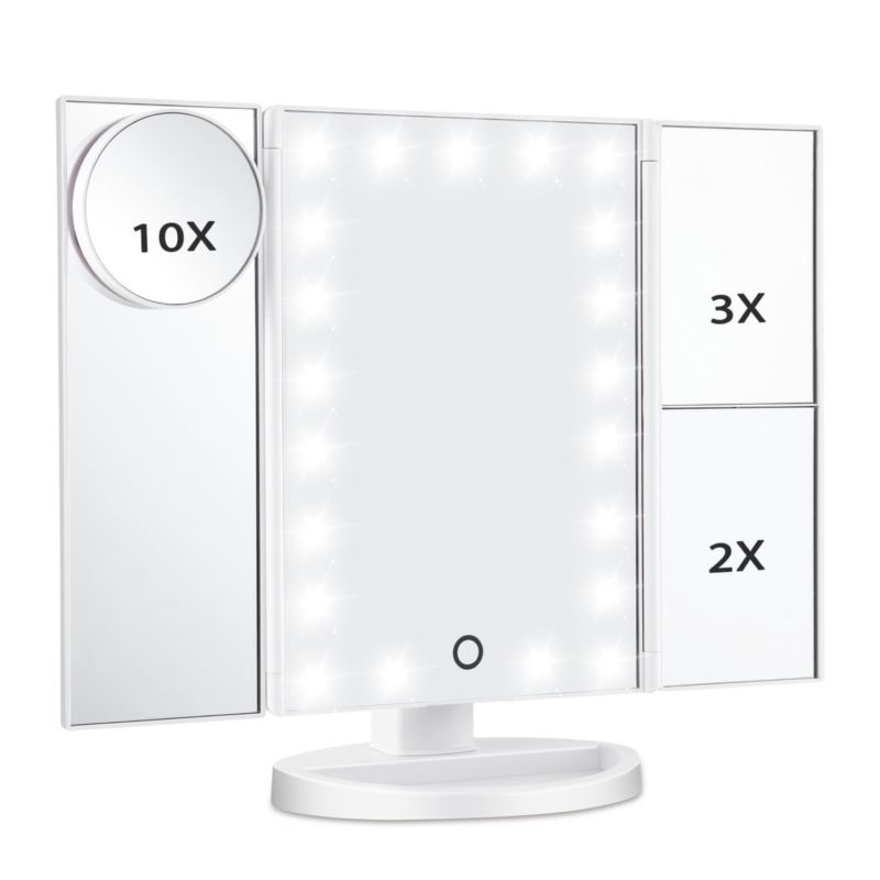 Lighted Vanity Makeup Mirror 21 LED Lights Touch Screen Folding