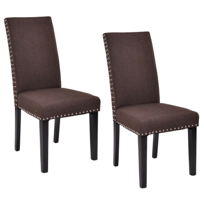 Dining Chairs Fabric Upholstered Armless Accent Home Kitchen Furniture Set of 2