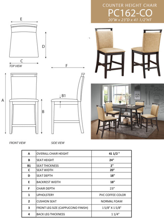 Cappuccino Counter-Height Table & 4 Coffee Upholstered Chairs