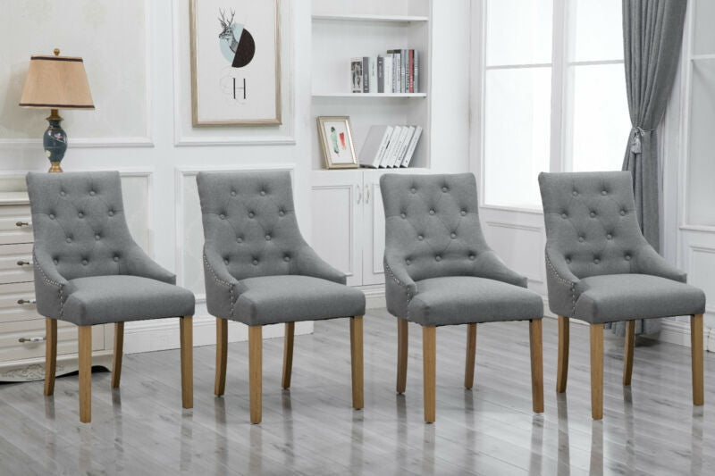 Armchair Dining Button Tufted Fabric Upholstered Accent Chair