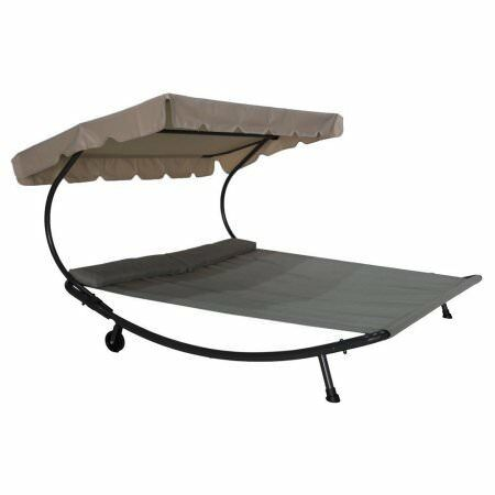 Patio Outdoor Portable Double Chaise Lounge Hammock Bed with Sun Shade