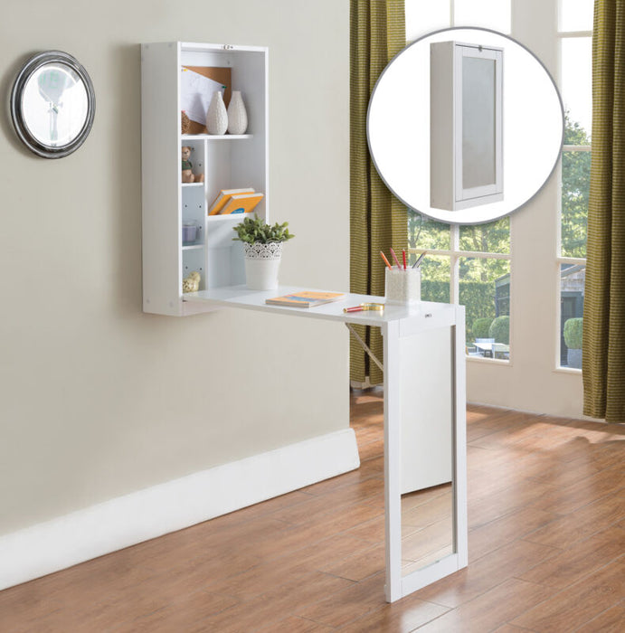 White Finish Wood Fold-Out Convertible Wall Mount Desk With Mirror