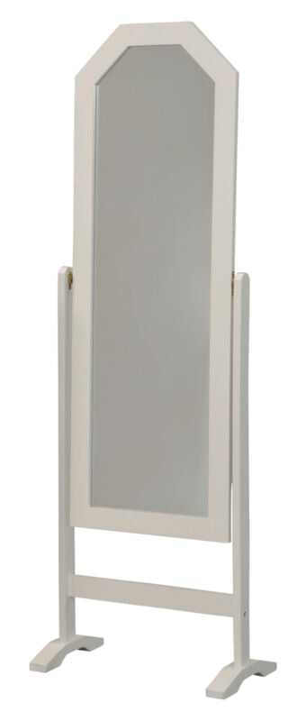 White Finish Wood Free Standing Rectangular Floor Mirror