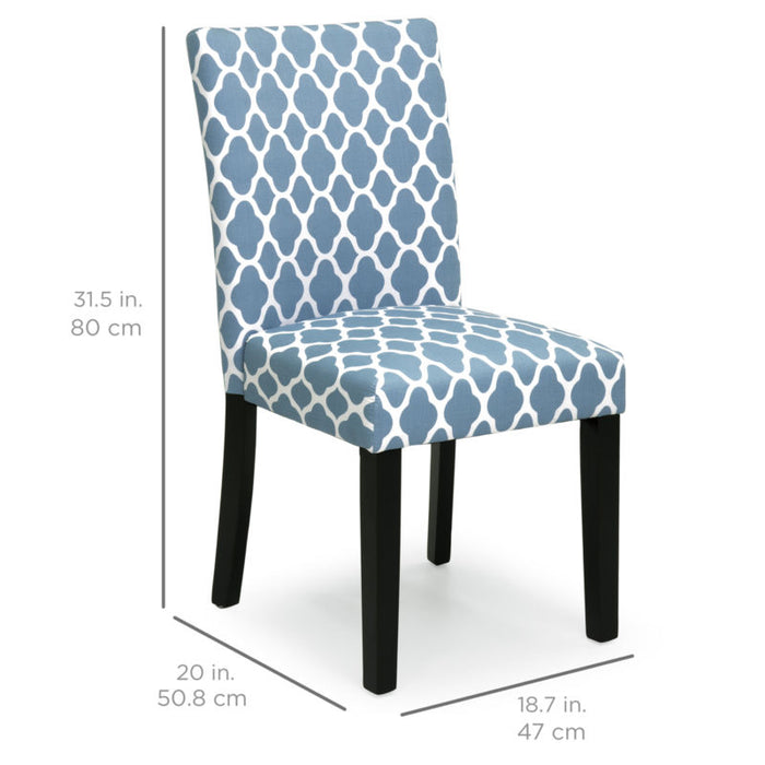 Set of 2 Fabric Parson Dining Chairs (Blue)