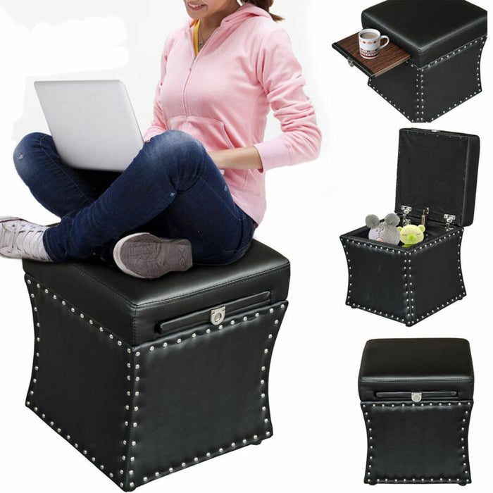 Faux Leather Ottoman Storage Box Lounge Seat Foot Stool w/Cup Holder Tray