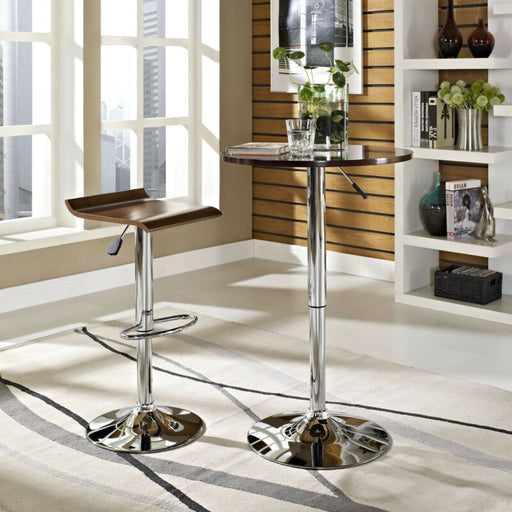 Modern Retro Wood Piston Bar Stool With Chrome Metal Base in Oak