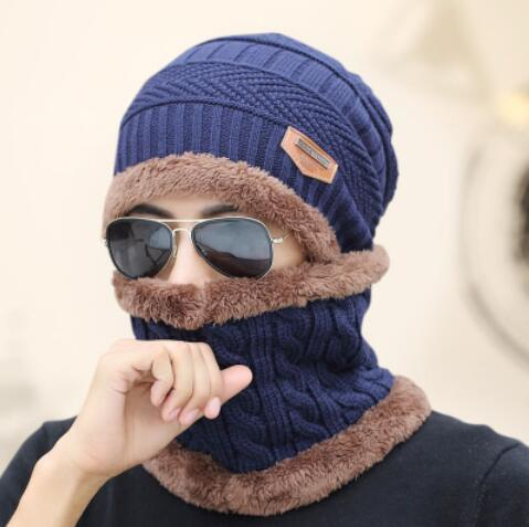 Knitted Hat Scarf + Neck Warmer Fleece - Navy blue