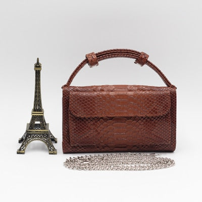 Leather Cowhide Clutch With Crocodile Pattern
