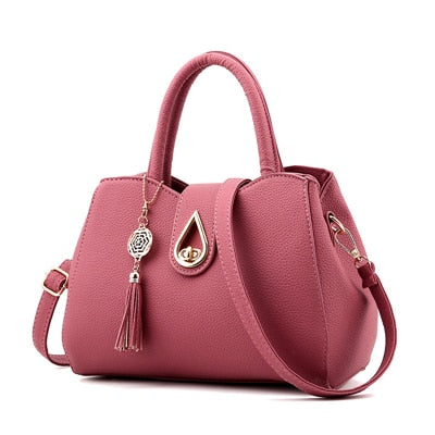 High Quality  Leather Totes Bag For Women With Tassel