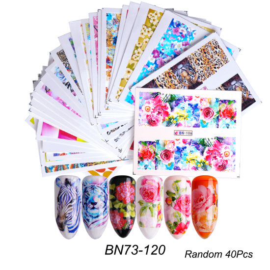 40 PCS Mixed Design Black Lace Gold Silver Glitter Flower Nail Art Design - Toyzor.com