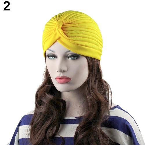Indian Style Stretchable Pleated Turban - Yellow
