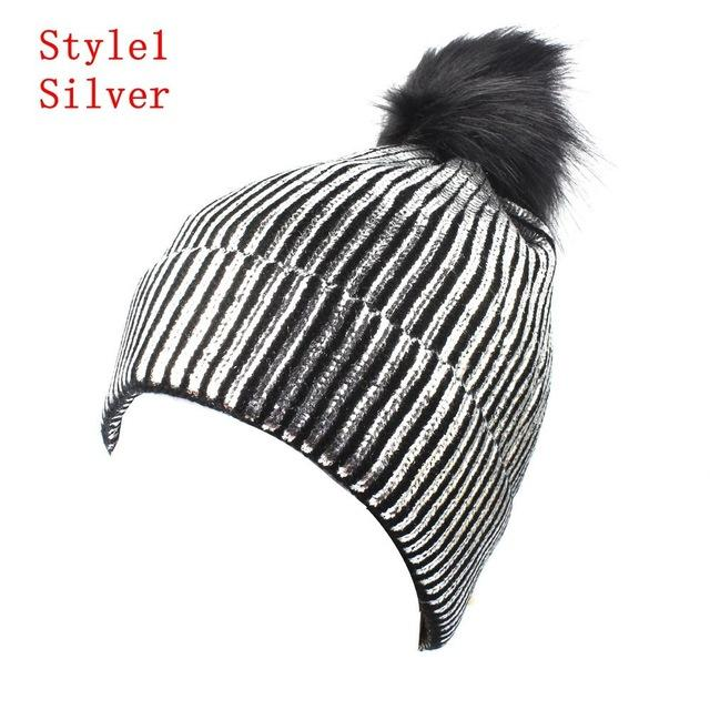 Knitted Shiny Pompom Hat - Silver